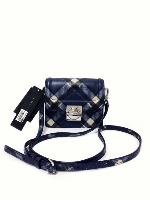 Item - Top Schooly Jax Plaid Skipper Blue Multi Leather Cross Body Bag