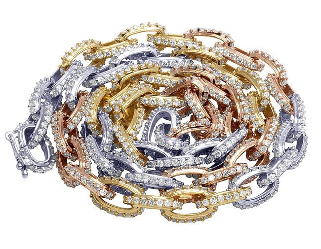 Jewelry Unlimited 10k Multi Tone Gold Mens Hermes Rolo Link Diamond Chain 20 Necklace Tradesy