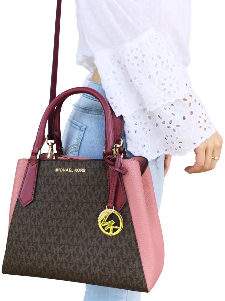 319194cbecb8 Michael Kors Kimberly Small Satchel Brown Mk Signature Mulberry Pink ...