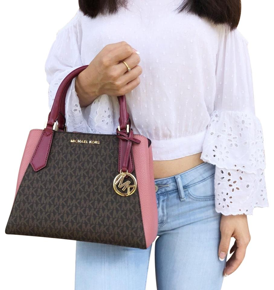 c5e55d3fdac3 Michael Kors Kimberly Small Brown Mk Signature Mulberry Pink Leather ...