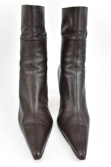 Gucci Leather Heels Dark Brown Boots Image 2