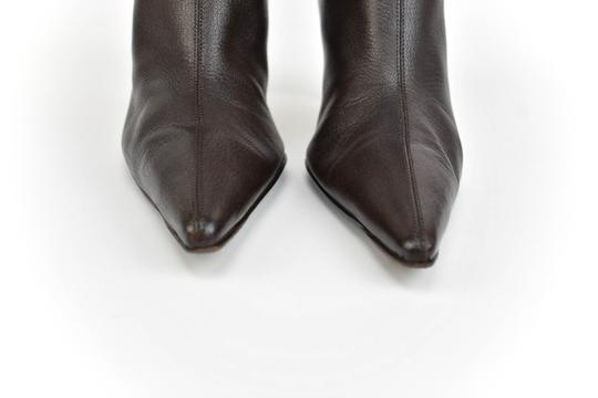 Gucci Leather Heels Dark Brown Boots Image 3