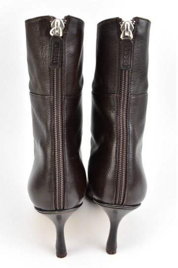 Gucci Leather Heels Dark Brown Boots Image 5