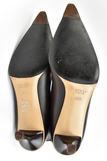 Gucci Leather Heels Dark Brown Boots Image 8
