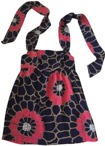 Anthropologie Empire Navy Blue with pink floral print Halter Top