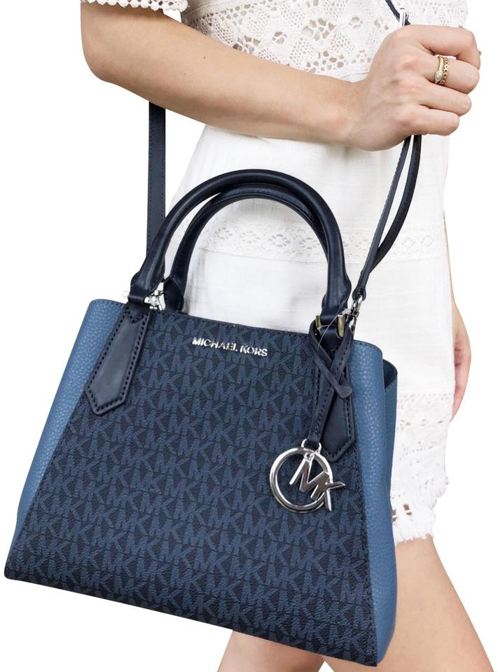 b9bd3e972dc4 Michael Kors Kimberly Small Satchel Mk Signature Denim Admiral Blue ...