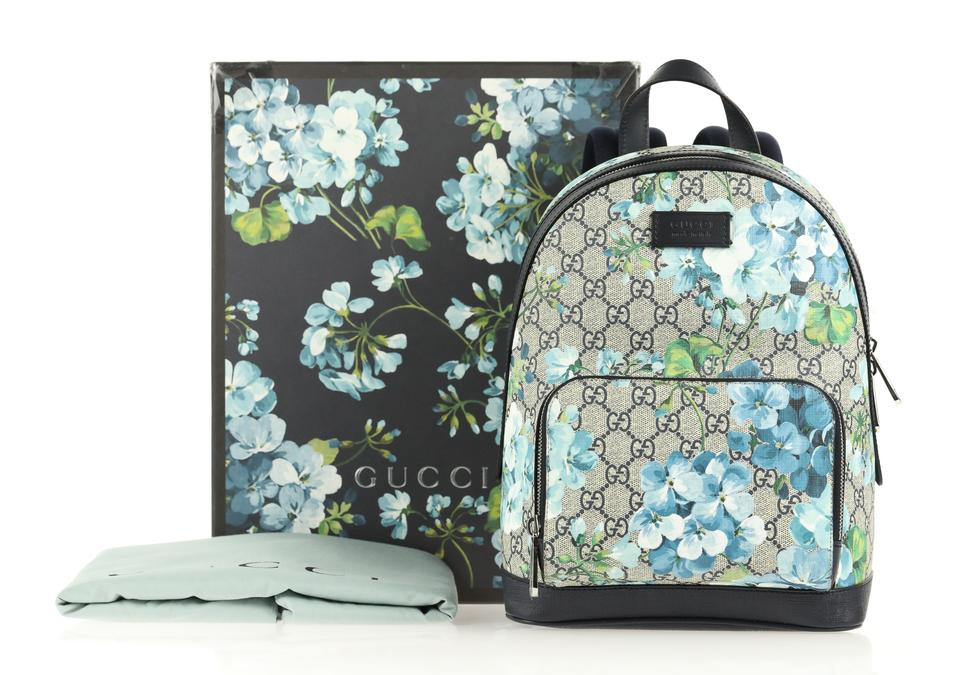 Gucci Small Gg Blooms Blue Coated Canvas Backpack - Tradesy