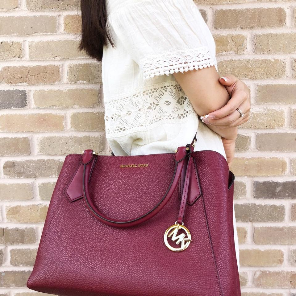 9bf7588bfcf51e Michael Kors Kimberly Large East West Mulberry Leather Satchel - Tradesy