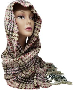 Burberry Creme multicolor Burberry London plaid patterned wool-blend scarf