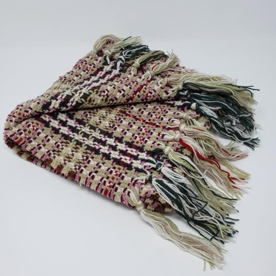 Burberry Creme multicolor Burberry London plaid patterned wool-blend scarf Image 10