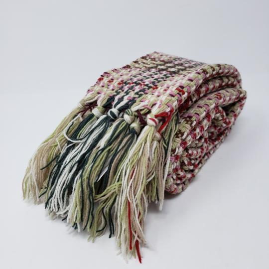 Burberry Creme multicolor Burberry London plaid patterned wool-blend scarf Image 3