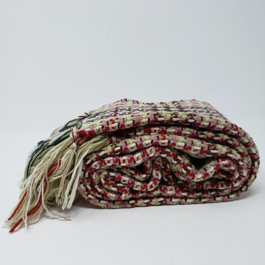 Burberry Creme multicolor Burberry London plaid patterned wool-blend scarf Image 4