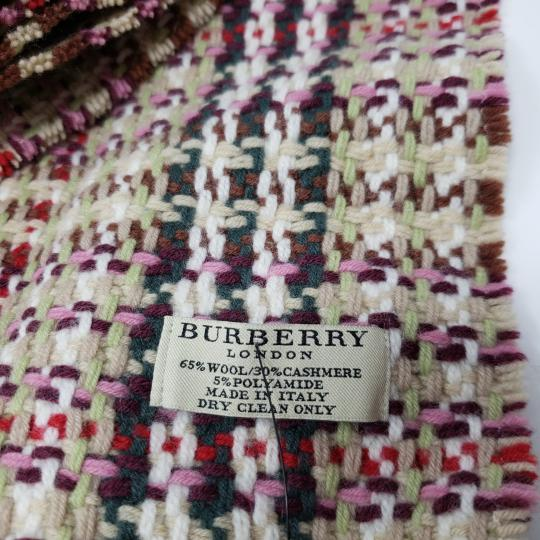 Burberry Creme multicolor Burberry London plaid patterned wool-blend scarf Image 5