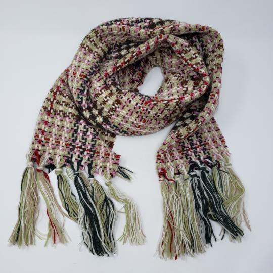 Burberry Creme multicolor Burberry London plaid patterned wool-blend scarf Image 6