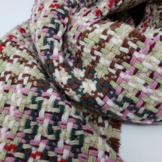 Burberry Creme multicolor Burberry London plaid patterned wool-blend scarf Image 7