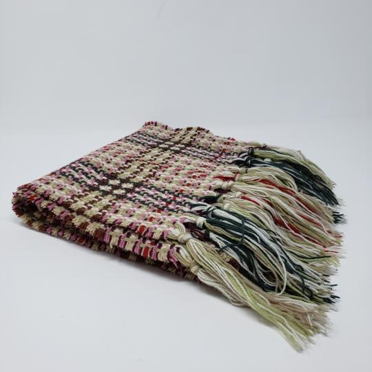Burberry Creme multicolor Burberry London plaid patterned wool-blend scarf Image 9