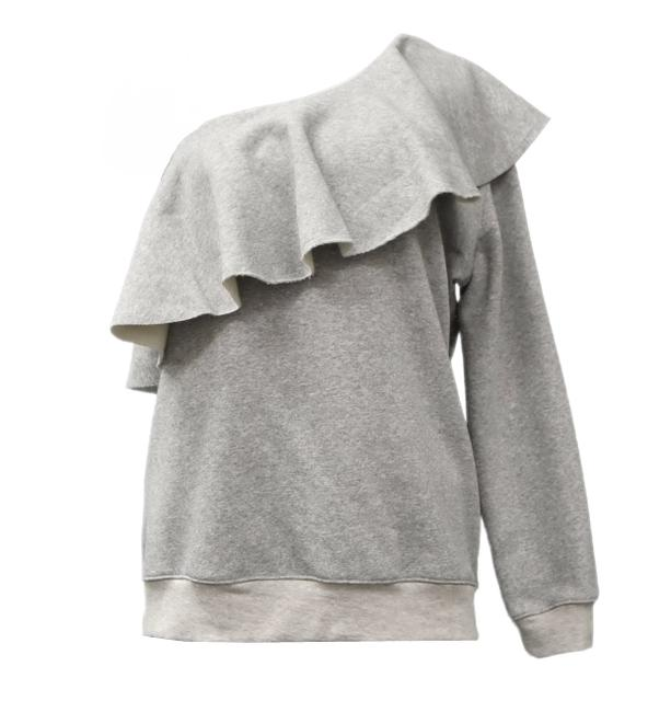 Item - Grey One Shoulder Sweatshirt/Hoodie Size 12 (L)