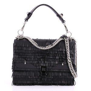 Fendi Monster Kan I Handbag Fringe Medium Black Leather Tote - Tradesy