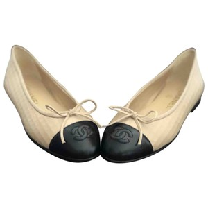 Chanel black and cream or light beige Flats