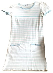Chanel short dress pink and light blue with silver on Tradesy