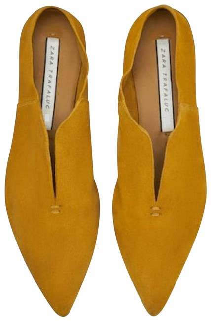 Item - Mustard Genuine Suede Leather Pointy Toes Flats Size US 8 Regular (M, B)