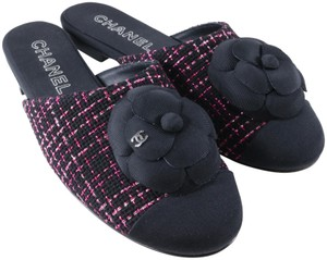 Chanel Camellia Flower Tweed black, pink, metallic, Mules