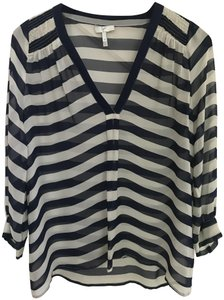 Joie Size Small Nautical Silk Top Blue and White