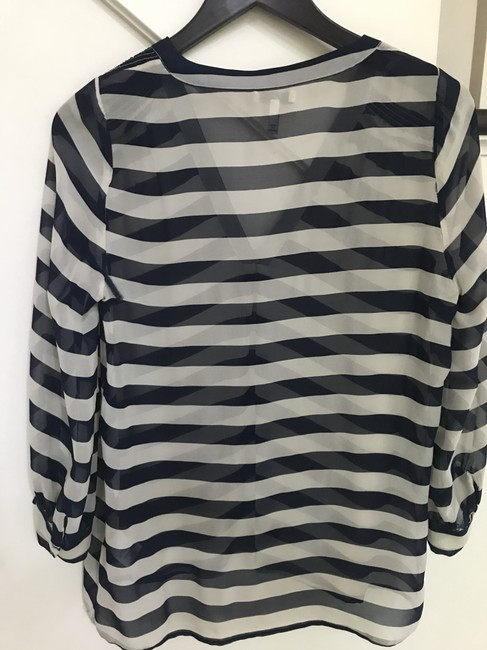 Joie Size Small Nautical Silk Top Blue and White Image 1