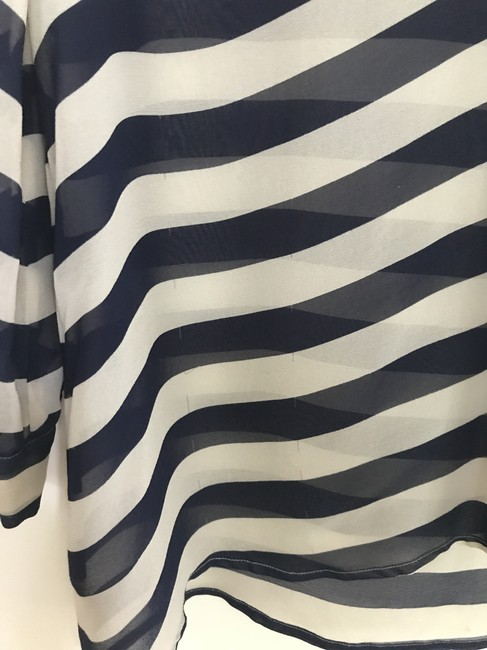 Joie Size Small Nautical Silk Top Blue and White Image 3
