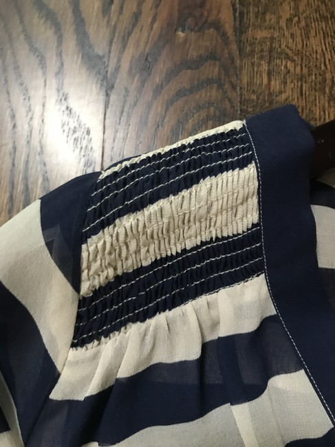 Joie Size Small Nautical Silk Top Blue and White Image 4