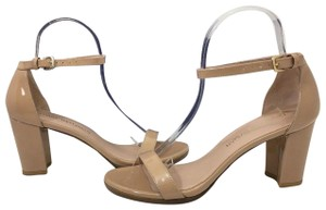 Stuart Weitzman High Ankle Strap Nude Patent Leather Size 7.5 Chrome Glitter Lace Sandals