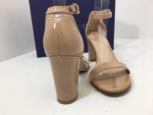 Stuart Weitzman High Ankle Strap Nude Patent Leather Size 7.5 Chrome Glitter Lace Sandals Image 1