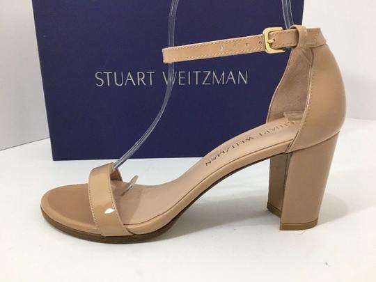 Stuart Weitzman High Ankle Strap Nude Patent Leather Size 7.5 Chrome Glitter Lace Sandals Image 2