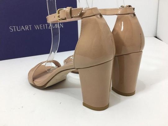 Stuart Weitzman High Ankle Strap Nude Patent Leather Size 7.5 Chrome Glitter Lace Sandals Image 3