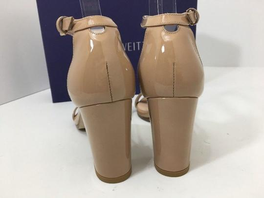 Stuart Weitzman High Ankle Strap Nude Patent Leather Size 7.5 Chrome Glitter Lace Sandals Image 4