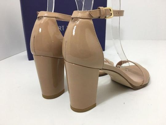 Stuart Weitzman High Ankle Strap Nude Patent Leather Size 7.5 Chrome Glitter Lace Sandals Image 5