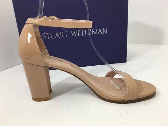 Stuart Weitzman High Ankle Strap Nude Patent Leather Size 7.5 Chrome Glitter Lace Sandals Image 6