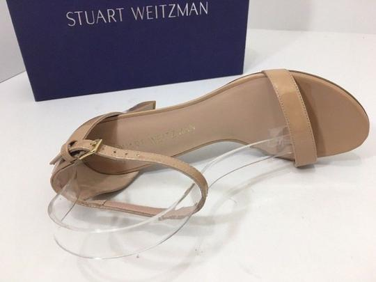 Stuart Weitzman High Ankle Strap Nude Patent Leather Size 7.5 Chrome Glitter Lace Sandals Image 8