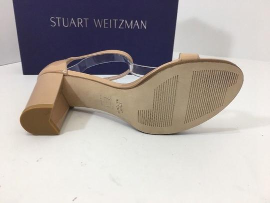 Stuart Weitzman High Ankle Strap Nude Patent Leather Size 7.5 Chrome Glitter Lace Sandals Image 9