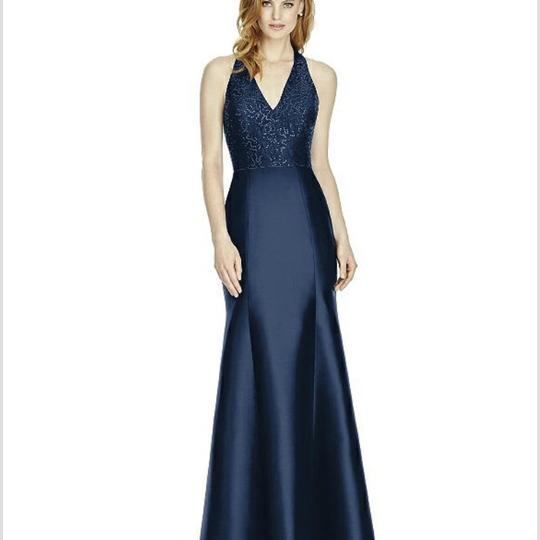 Dessy Midnight (Deep Navy) Sequin Lace Top/ Sateen Twill Bottom 4514 Formal Bridesmaid/Mob Dress Size 10 (M) Image 0