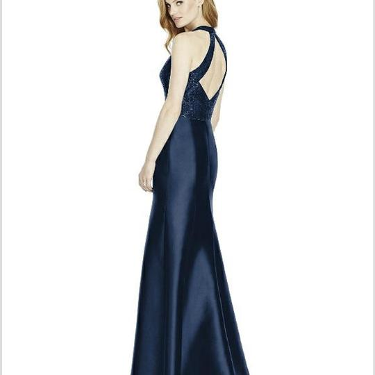 Dessy Midnight (Deep Navy) Sequin Lace Top/ Sateen Twill Bottom 4514 Formal Bridesmaid/Mob Dress Size 10 (M) Image 1