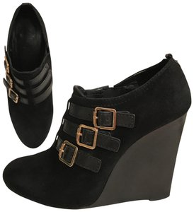 Tory Burch Suede Wedge Leather Distressed Black Boots