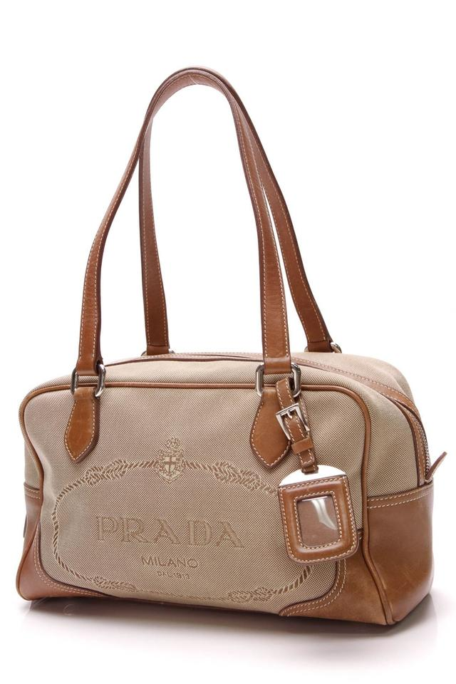 69a53f142d9a Prada Logo Jacquard - Light Brown Canvas Satchel - Tradesy