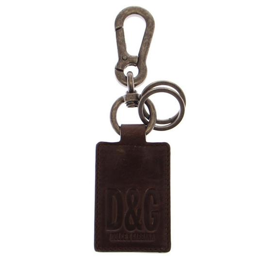 Dolce&Gabbana D10021 Unisex Leather Metal Ring Keychain Image 2
