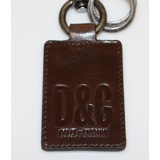 Dolce&Gabbana D10021 Unisex Leather Metal Ring Keychain Image 3
