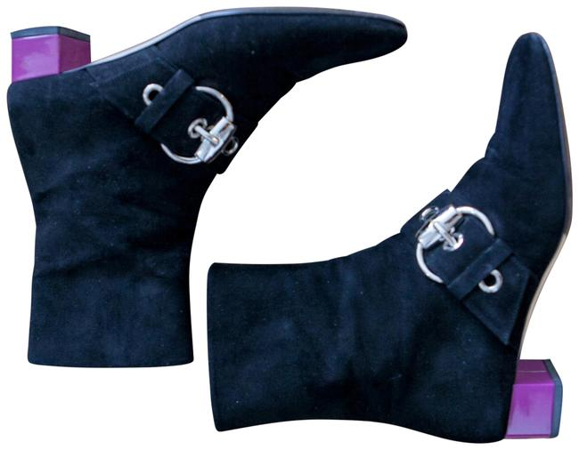 Item - Black and Violet Runway Suede with Large Silver Buckle Bright Heel Boots/Booties Size EU 35.5 (Approx. US 5.5) Wide (C, D)