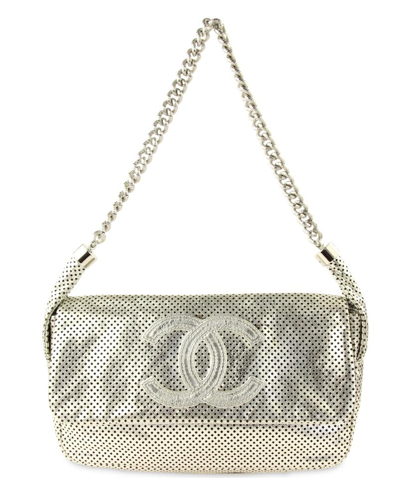 5467d5a844db Chanel Rodeo Drive Perforated Flap Silver Leather Shoulder Bag - Tradesy