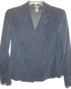 Van Heusen Button Front Moleskin Scalloped Cuffs Long Sleeve Button Down Shirt Navy