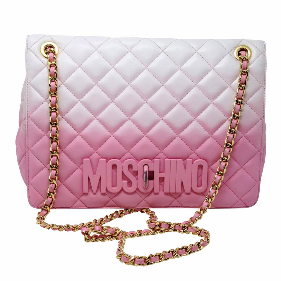 f9e47096a04 Moschino Classic Quilted Ombre Chain Pink Sheepskin Leather Shoulder Bag