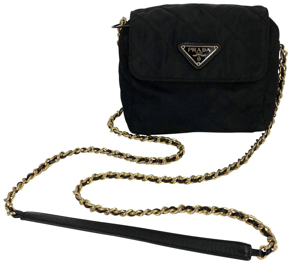 2b3a5caf6467 Prada Vintage Quilted Mini Gold Chain Black Nylon Cross Body Bag ...